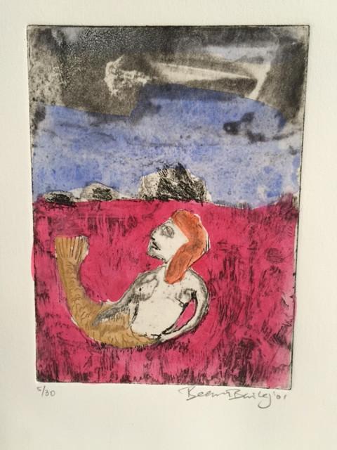 Mermaids in the pink sea