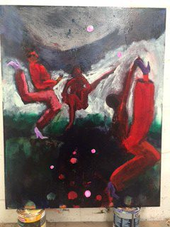 The 1000 Year Dance Cure (Red Dancers Oil On Canvass)